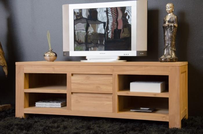 Meuble tv 140 cm timea en teck naturel 2 tiroirs et 4 - Meuble pour tv 140 cm ...