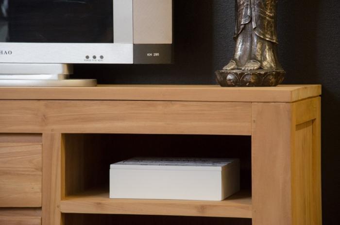 meuble tv 140 cm timea en teck naturel 2 tiroirs et 4. Black Bedroom Furniture Sets. Home Design Ideas