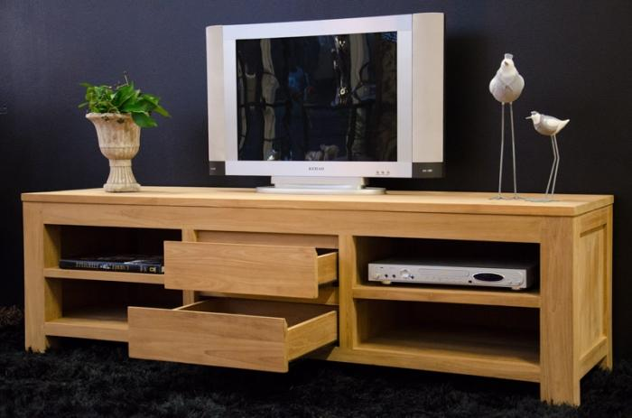 meuble tv 170 cm timea teck naturel 2 tiroirs et 4. Black Bedroom Furniture Sets. Home Design Ideas
