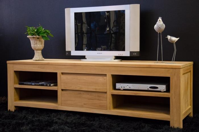 Meuble TV 170 cm TIMEA teck naturel. 2 tiroirs et 4 ...
