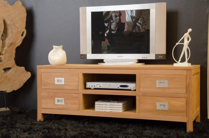 Meuble tv 130 cm de long tina avec 4 tiroirs et 2 compartiments de rangement - Meuble tv tres long ...