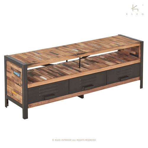 Achat meuble tv industriel 150 cm lokker quip de 3 tiroirs et d 39 un compartiment ouvert - Meuble tv 150 cm ...