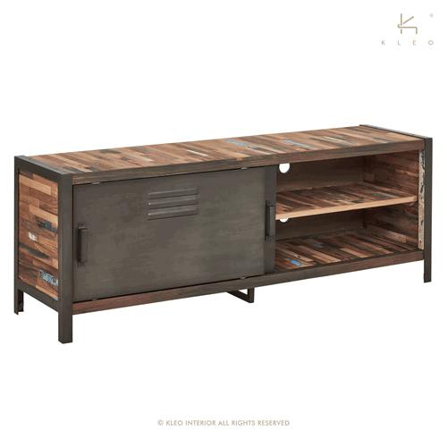 achat meuble tv industriel 160 cm 2 portes coulissantes. Black Bedroom Furniture Sets. Home Design Ideas