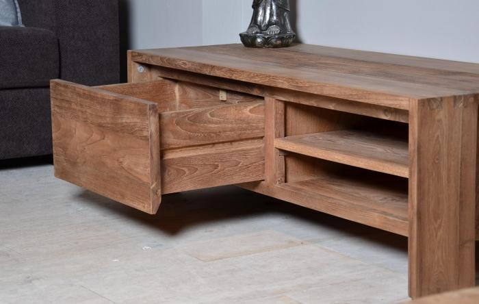 Vente meuble tv en teck dbodhi gamme fissure table for Meuble tv 120