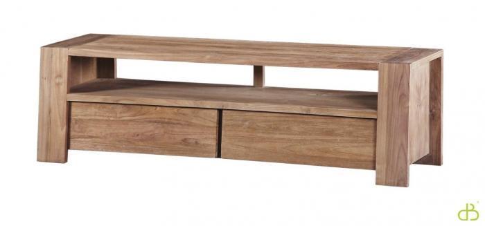 Vente meuble tv en teck dbodhi gamme trapesium table for Meuble salon teck