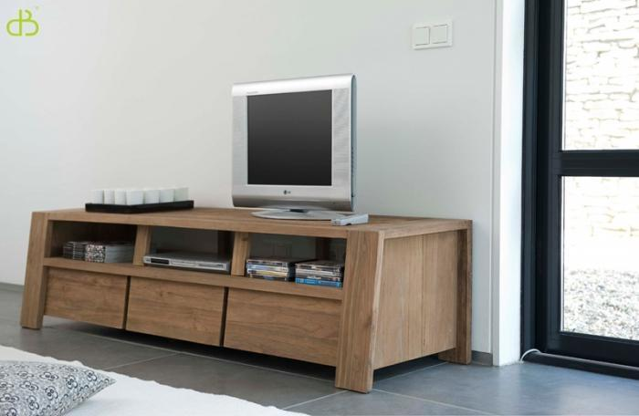 vente meuble tv teck massif trapezium. Black Bedroom Furniture Sets. Home Design Ideas