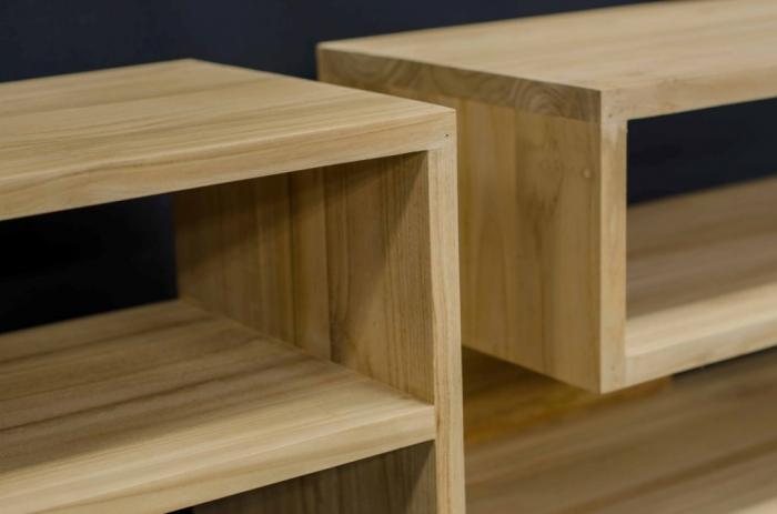 grand meuble tv en teck massif une ligne moderne et design avec la beaut du bois brut. Black Bedroom Furniture Sets. Home Design Ideas