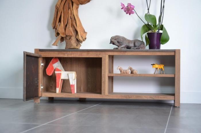 meuble tv 120 cm en teck recycl et m tal esprit industriel et loft pour votre salon. Black Bedroom Furniture Sets. Home Design Ideas