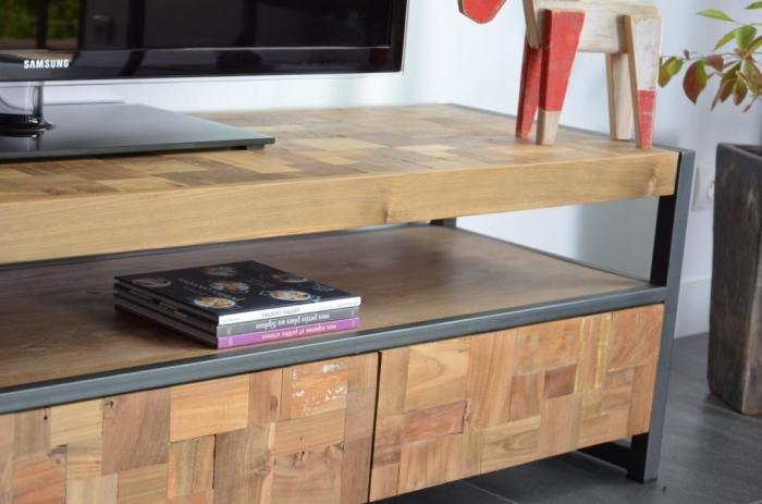 Meuble Tv  Cm En Teck Recycl Pratique Et Esthtique