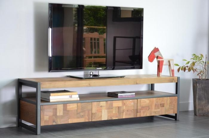 meuble tv 160 cm en teck recycl pratique et esth tique. Black Bedroom Furniture Sets. Home Design Ideas