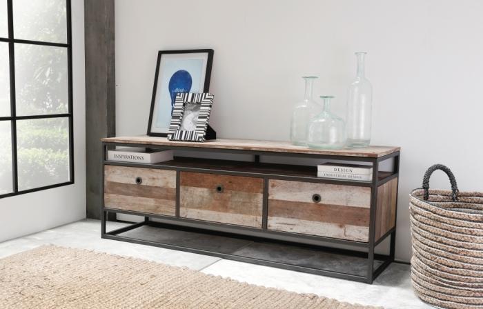 achat grand meuble tv en m tal et bois recycl un style industriel tr s tendance pour votre salon. Black Bedroom Furniture Sets. Home Design Ideas