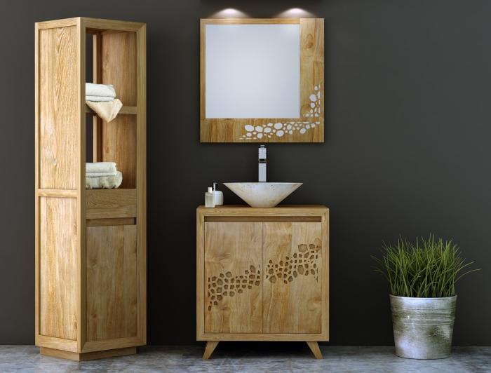 Miroir de salle de bain en teck original