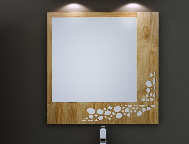 Miroir de salle de bain en teck original - Miroir teck salle de bain ...