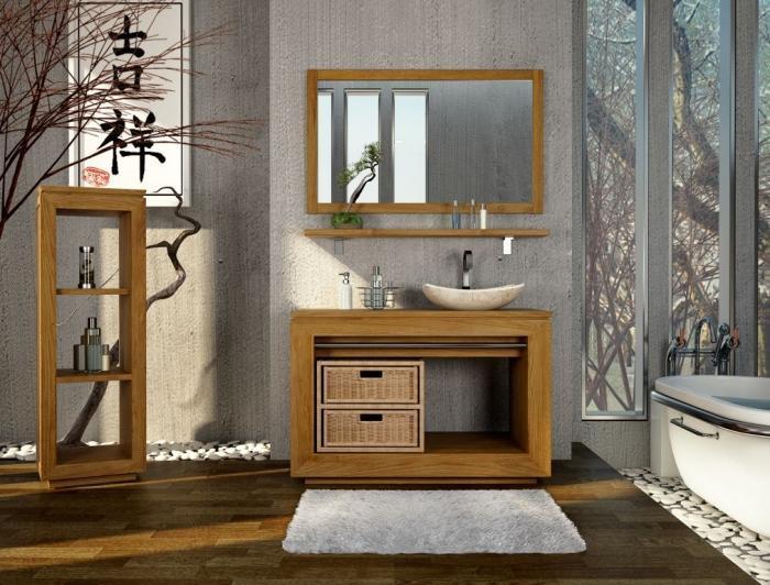 Grand miroir rectangulaire en teck bois exotique - Miroir teck salle de bain ...