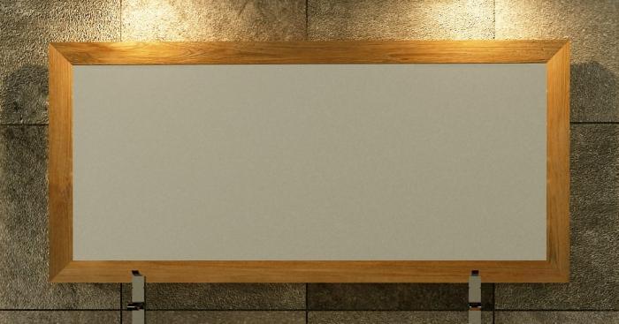 Miroir en teck rectangulaire walk l100 x h65 for Miroir bois brut