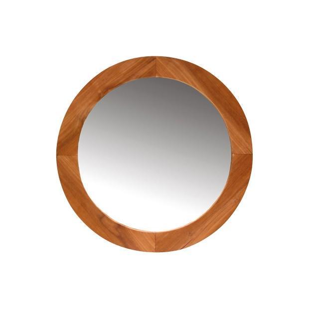 Miroir En Teck Rond 65 Miroir En Teck Salle De Bain En Teck Ameublement D Co