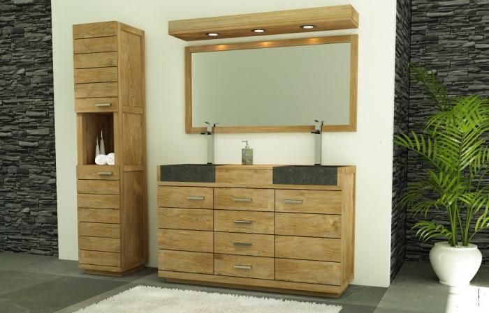 meuble salle de bain belle ile 140 en teck vasque noire - Meuble De Salle De Bain En Teck