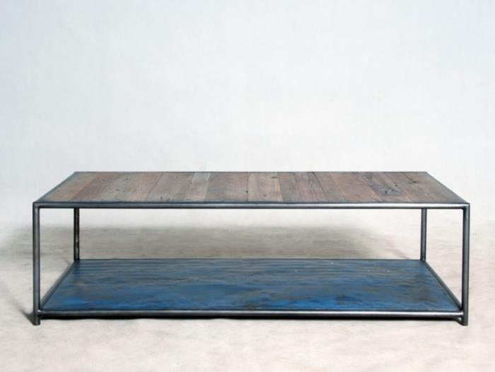 Table Basse 2 Plateaux.Table Basse Carree Style Industriel En Bois Recycle Equipee