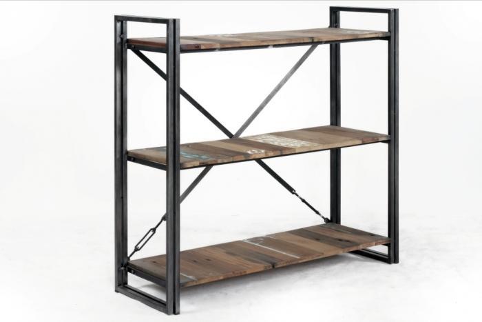 Vente étagère 120 cm de long en bois recyclé et métal pour un style ...
