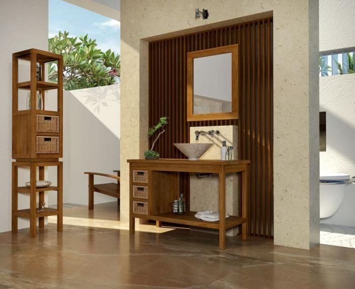 achat vente meuble salle de bain bali 110 teck. Black Bedroom Furniture Sets. Home Design Ideas