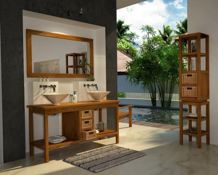 achat vente meuble salle de bain bali 145 teck. Black Bedroom Furniture Sets. Home Design Ideas