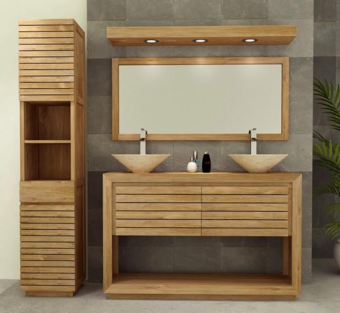 Achat vente meuble salle de bain teck emine for Meuble teck salle de bain