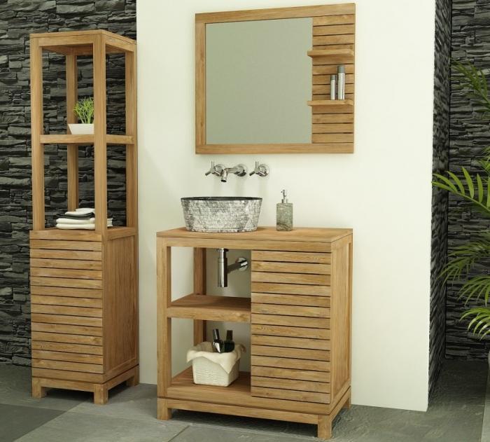 Achat vente meuble salle de bain teck porquerolles for Achat salle de bain