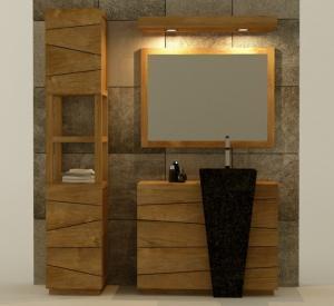 Pack de meuble en teck pour la salle de bain avec colonne for Meuble pour vasque colonne