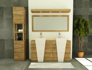pack de meuble en teck pour la salle de bain avec colonne et miroir. Black Bedroom Furniture Sets. Home Design Ideas