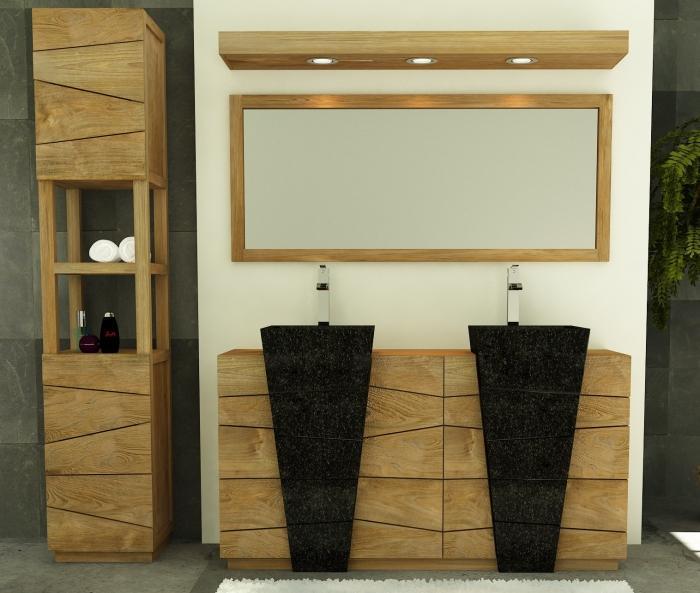 Pack de meuble en teck pour la salle de bain avec colonne for Meuble teck salle de bain