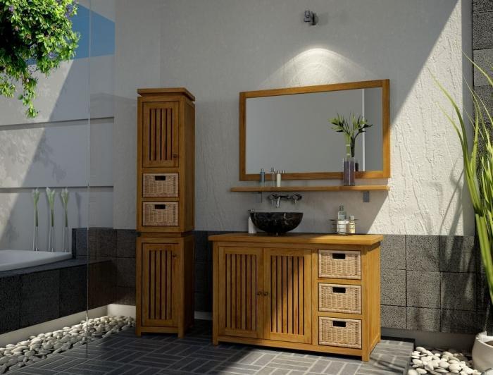 achat vente meuble salle de bain java 110 teck. Black Bedroom Furniture Sets. Home Design Ideas