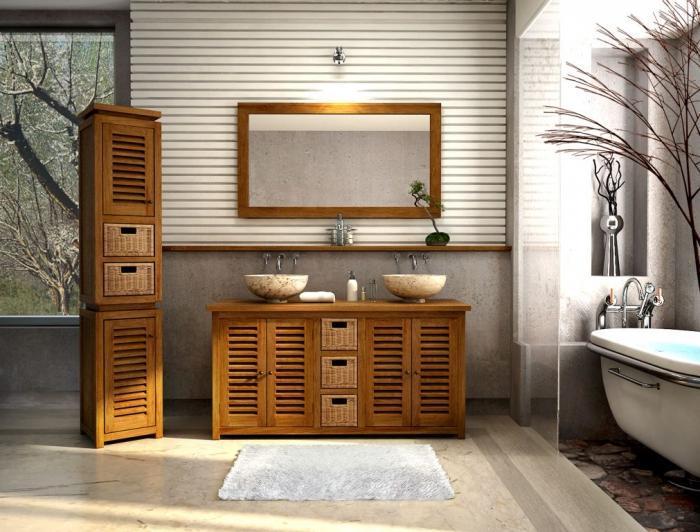Vente meuble de salle de bains en teck lombok l145 walk meuble en teck - Vente privee meuble et deco ...