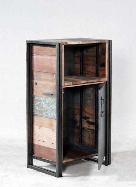 Vente petit buffet 60 cm en bois recycl et m tal des for Petit buffet industriel