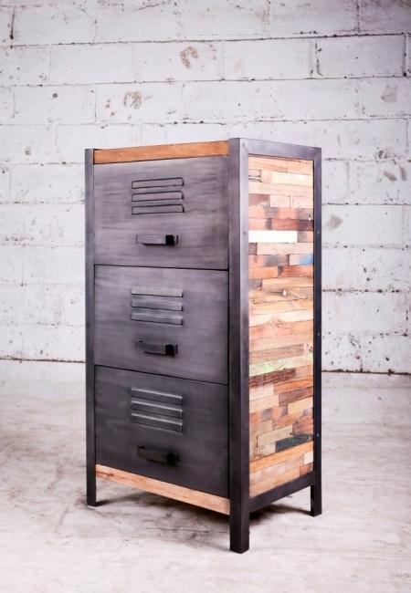 Achat petit meuble industriel hauteur 110 cm quip de 3 for Petit meuble 3 tiroirs