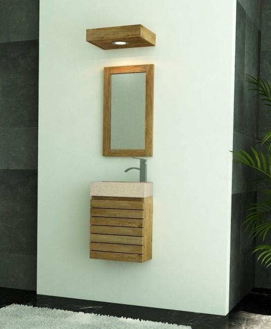 Achat petit meuble salle de bain teck lave main mural for Meuble mural a suspendre
