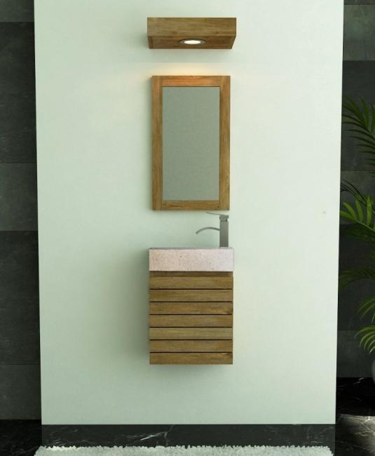 Achat petit meuble salle de bain teck lave main mural for Petit meuble salle de bain a suspendre