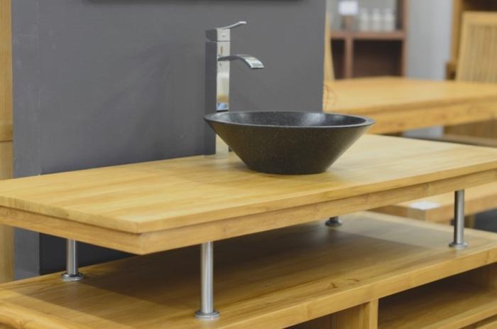 vente plateau de salle de bain teck 140 cm ce plateau permet d 39 installer 2 vasques poser. Black Bedroom Furniture Sets. Home Design Ideas