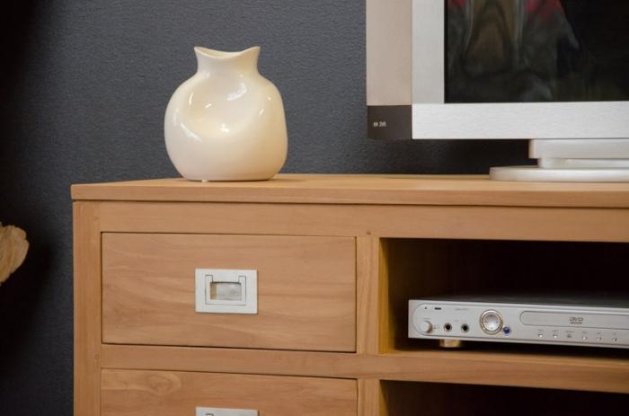 Meuble TV 130 cm de long TINA avec 4 tiroirs et 2 partiments de