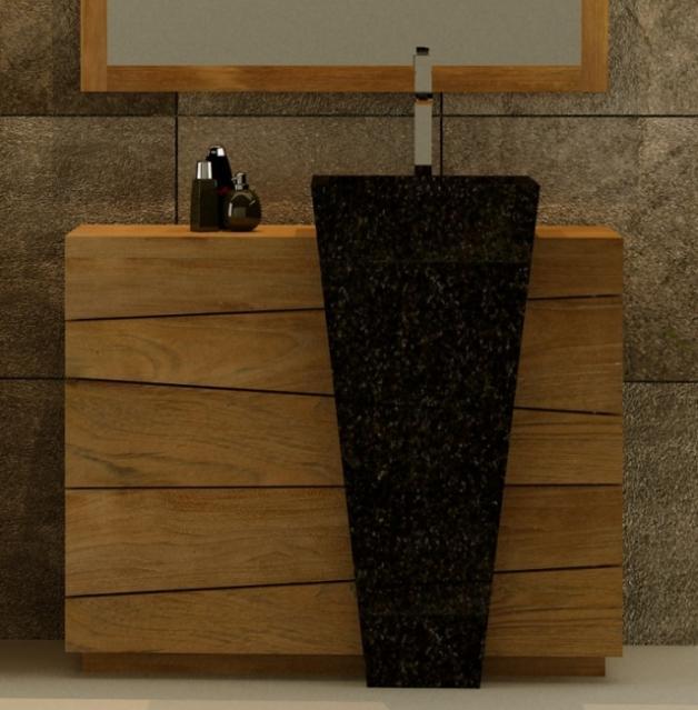 Ensemble mobilier salle de bain en teck, vasque noire intégrée