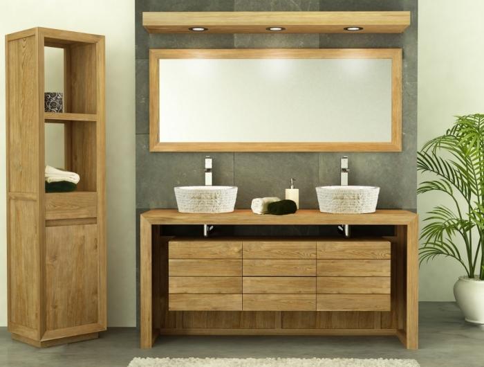 Meuble de salle de bain Groix L160 2 PORTES 2 tiroirs en teck