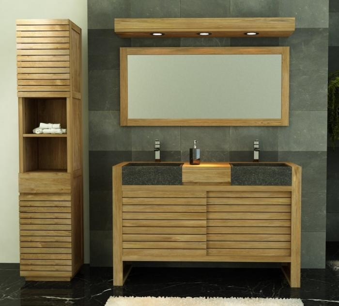 meuble salle de bain ouessant 140 en teck vasques noires - Meuble Salle De Bain Double Vasque 140 Cm
