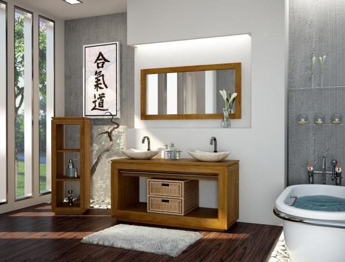 Miroir en teck rond ˜ 65 Miroir en teck Salle de bain en teck