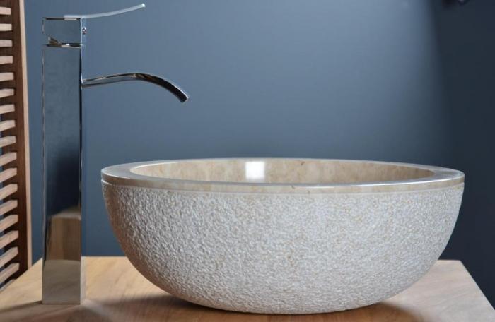vasque poser en marbre beige crozon - Salle De Bain Vasque Posee