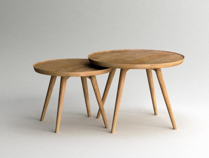 achat table basse gigogne en teck massif ronde diam tre 60 cm et 50 cm livraison offerte. Black Bedroom Furniture Sets. Home Design Ideas