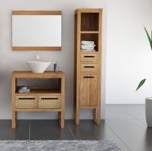 Meuble salle de bain teck mobilier en bois pas cher for Mobilier de salle de bain en bois