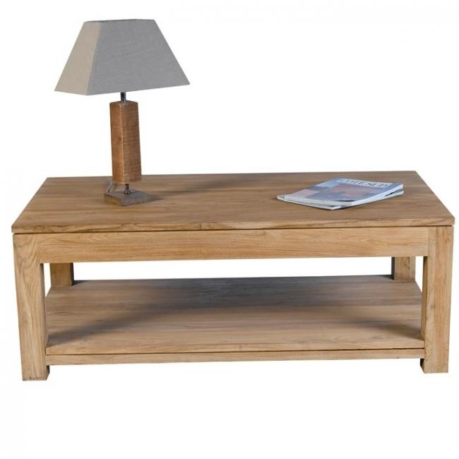 Table basse ALABAMA rectangulaire 2 tiroirs en teck 120 X 70 cm