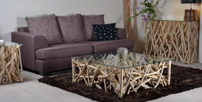Table basse carrée avec branches en teck pour salon  Walk