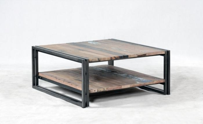 vente table basse bois recycl carr e quip e de 2 plateaux 100 x 100 cm. Black Bedroom Furniture Sets. Home Design Ideas