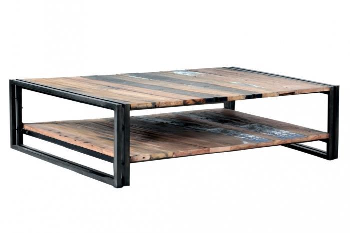 Vente table basse bois recycl rectangulaire quip e de 2 plateaux 120 x 70 cm - Table salon rectangulaire ...