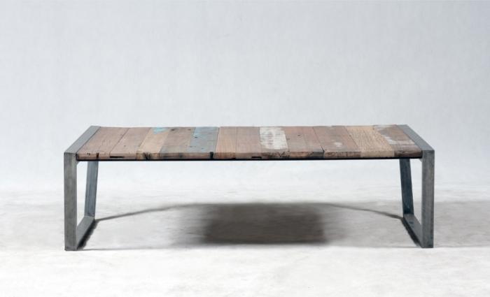 Table basse rectangulaire industrielle et vintage bois - Table basse 70 s ...